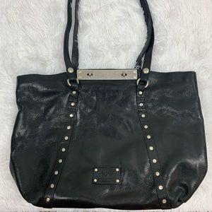 Patricia Nash Benvenuto Black Silver Leather Tote